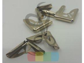 rožek kovový - 20 x 20 mm - světle zlatý