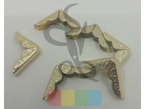 rožek kovový ornament 21 x 21 mm - zlatý