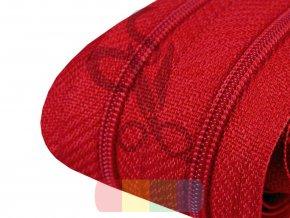 zip spirálový v metráži 3 mm - tmavší červená