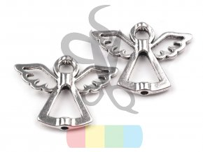 anděl kovový stříbrný