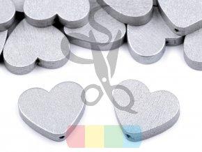 korálek dřevěný - srdce metalické - stříbrné