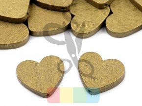 korálek dřevěný - srdce metalické - zlaté