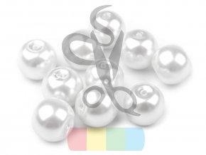 skleněná vosková perla - 8 mm - bílá (balení 5 ks)