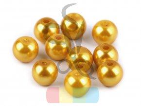 skleněná vosková perla - 8 mm - zlatožlutá