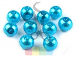 skleněná vosková perla - 8 mm - tyrkysová