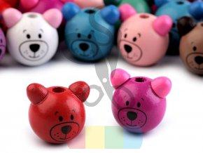 dřevěné korálky - barevný medvídek - různé barvy