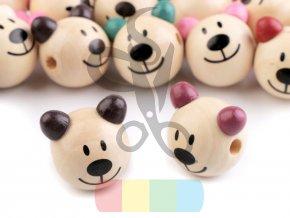 dřevěné korálky - medvídek s barevnýma ušima - různé barvy
