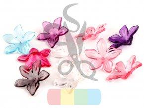 plastový květ - 29 mm - různé barvy- balení 5 ks