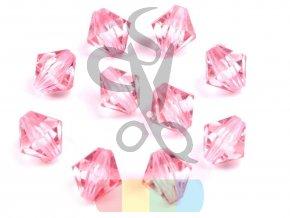 plastové korálky cínovky / sluníčko 8x8 mm - růžové - 10 ks