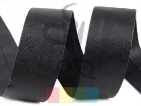 šikmý proužek koženkový založený šíře 30 mm - černý