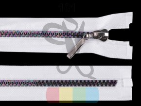 duhový kostěný zip šíře 5 mm, dělitelný bílý- různé délky