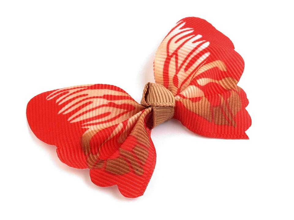 textilní aplikace 3D motýl - různé vzory červenohnědý