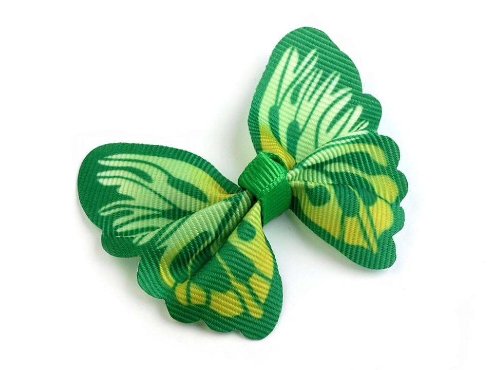 textilní aplikace 3D motýl - různé vzory zelenožlutý