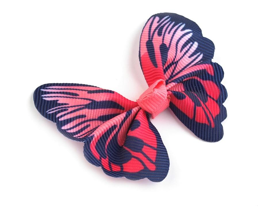 textilní aplikace 3D motýl - různé vzory modrorůžový