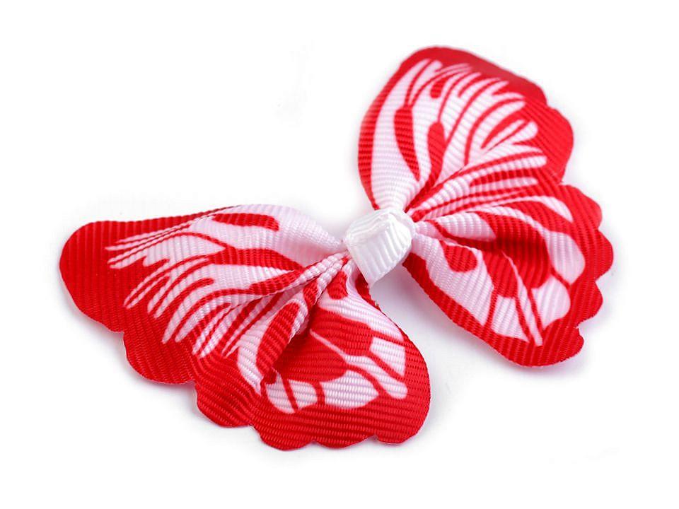 textilní aplikace 3D motýl - různé vzory červenobílý