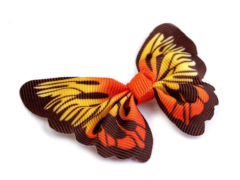 textilní aplikace 3D motýl - různé vzory oranžovohnědý