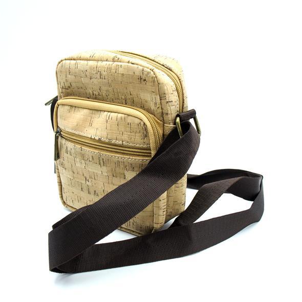 74ea89f599 pánská malá taška přes rameno - korková - světle hnědá