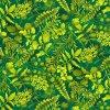 bavlněná látka - Butterfly Paradise - rostliny - zelená-žlutá