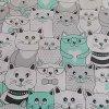 bavlněná látka - kočičky v zelené