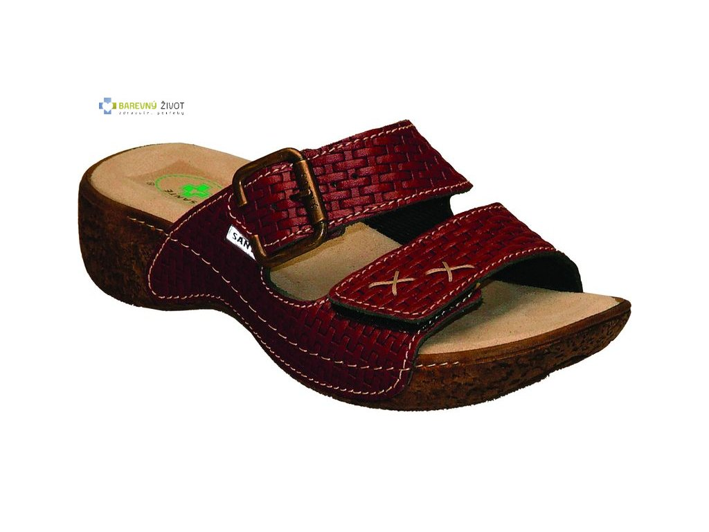 Dámské zdravotní pantofle SANTÉ bordó
