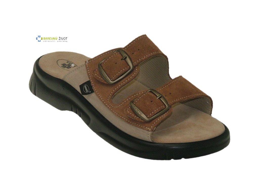14361d1c6c8 Pánské zdravotní pantofle hnědé SANTE - BAREVNÝ ŽIVOT