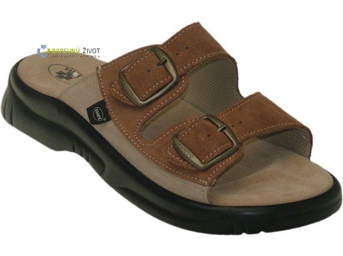 Pánské zdravotní pantofle hnědé SANTE