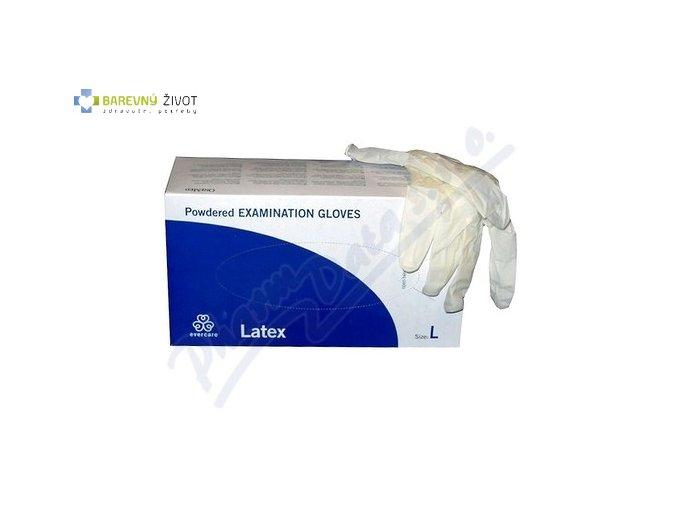 rukavice vyset evercare latex s pudrem vel l 100ks 14251529