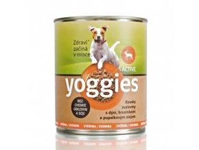 800g yoggies zverinova konzerva pro psy s dyni a pupalkovym olejem
