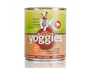 800g yoggies hovezi konzerva pro psy s karotkou a lnenym olejem