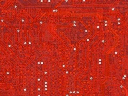Čtverec Silver Circuit Traces Red