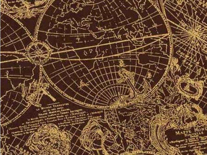 Čtverec New World Map -burgundy