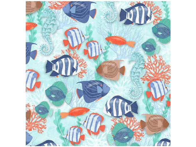 Coastal Dreams Blue Fish Allover