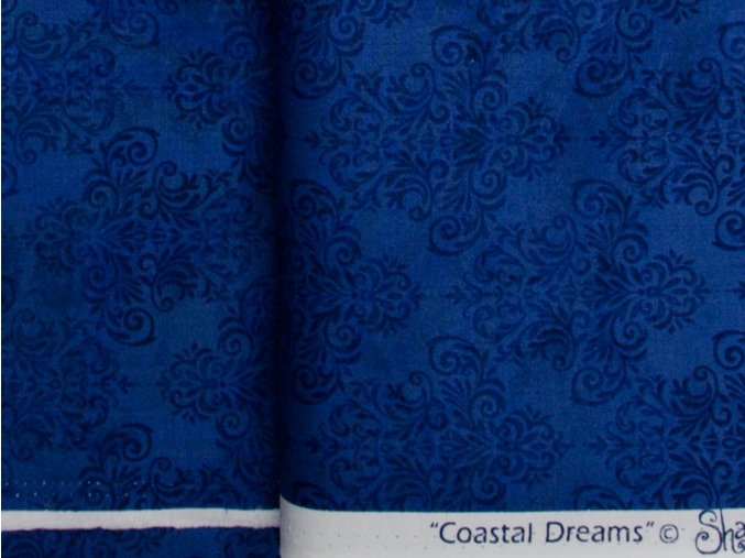 Coastal Dreams  Navy Tonal Damask