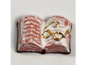 Keramická rozevřená kniha s brýlemi