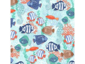 Coastal Dreams Blue Fish Allover
