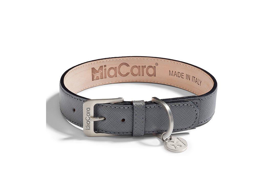 Kvalitní obojek MiaCara Torino kůže šedá