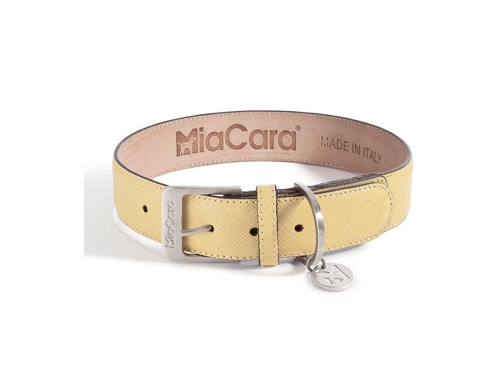 Kvalitní obojek MiaCara Torino kůže žlutá