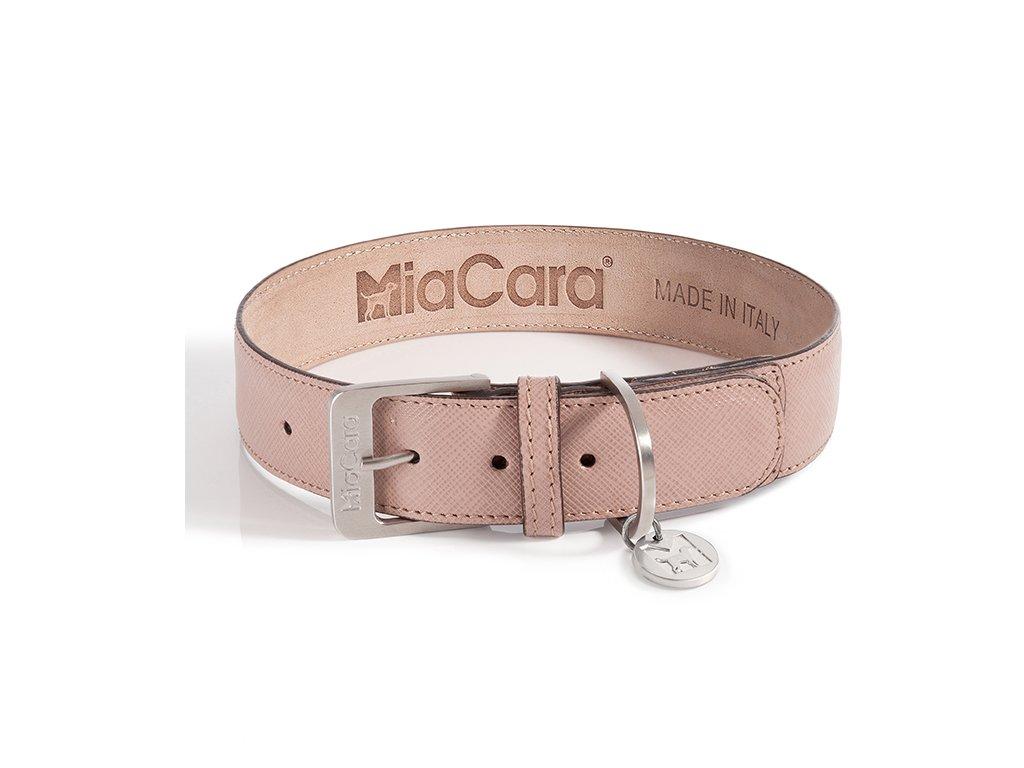 Kvalitní obojek MiaCara Torino kůže růžová