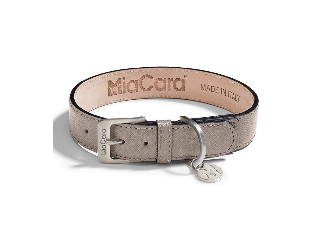 Kvalitní obojek MiaCara Torino kůže béžová