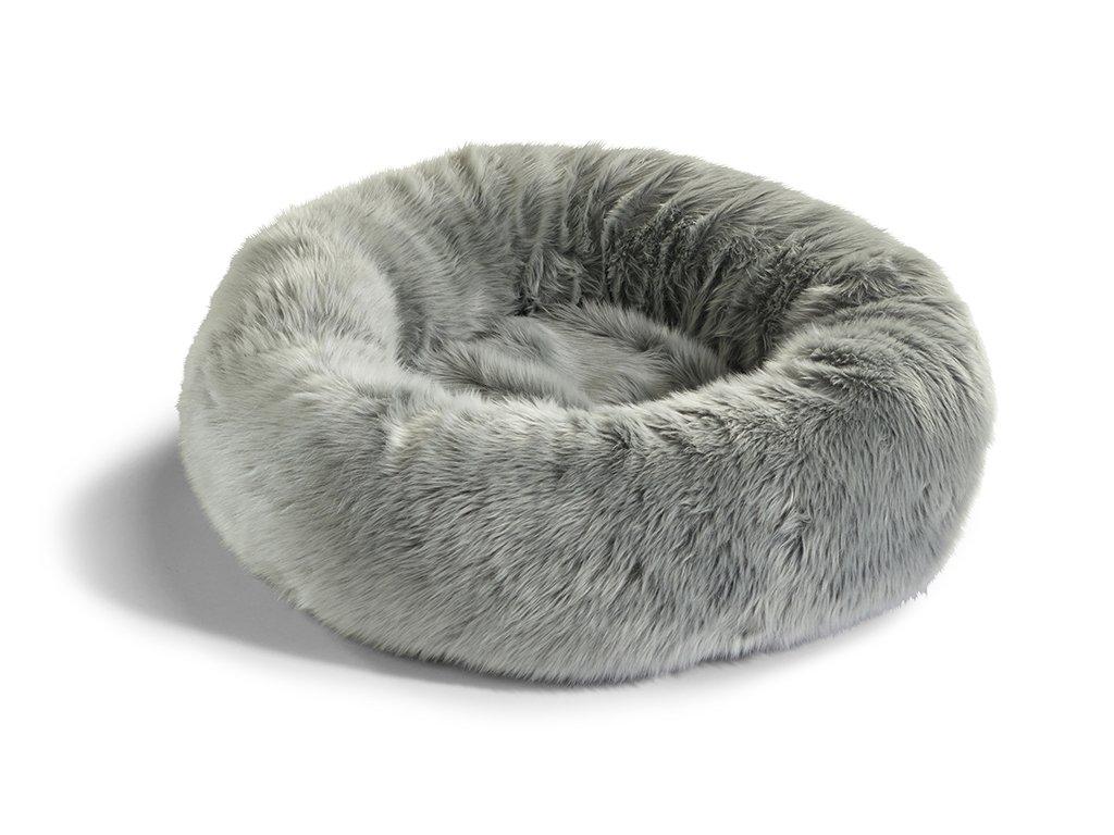 Pelíšek pro kočky MiaCara Lana stříbrný s kožíškem