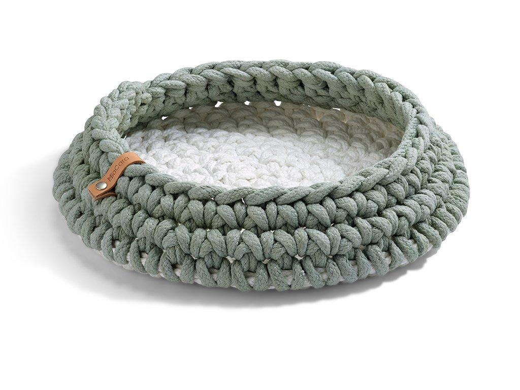 Pletený pelíšek pro kočky MiaCara Nido mentol