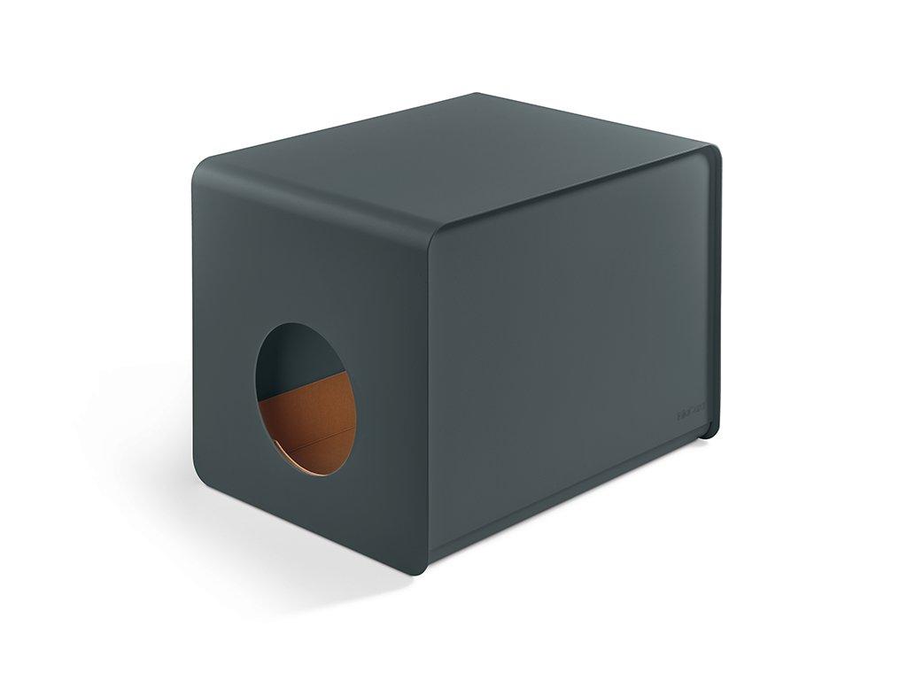 Designová kovová toaleta pro kočky MiaCara Sito šedá