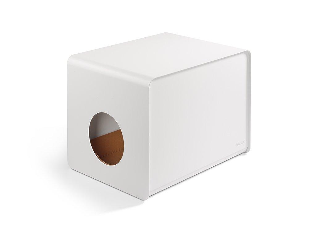 Designová kovová toaleta pro kočky MiaCara Sito bílá
