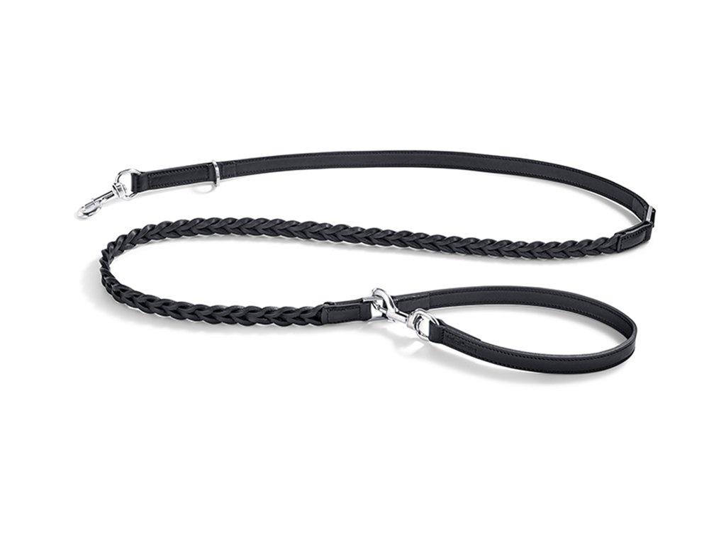 Odolné vodítko MiaCara Bergamo Long kůže pletená černá