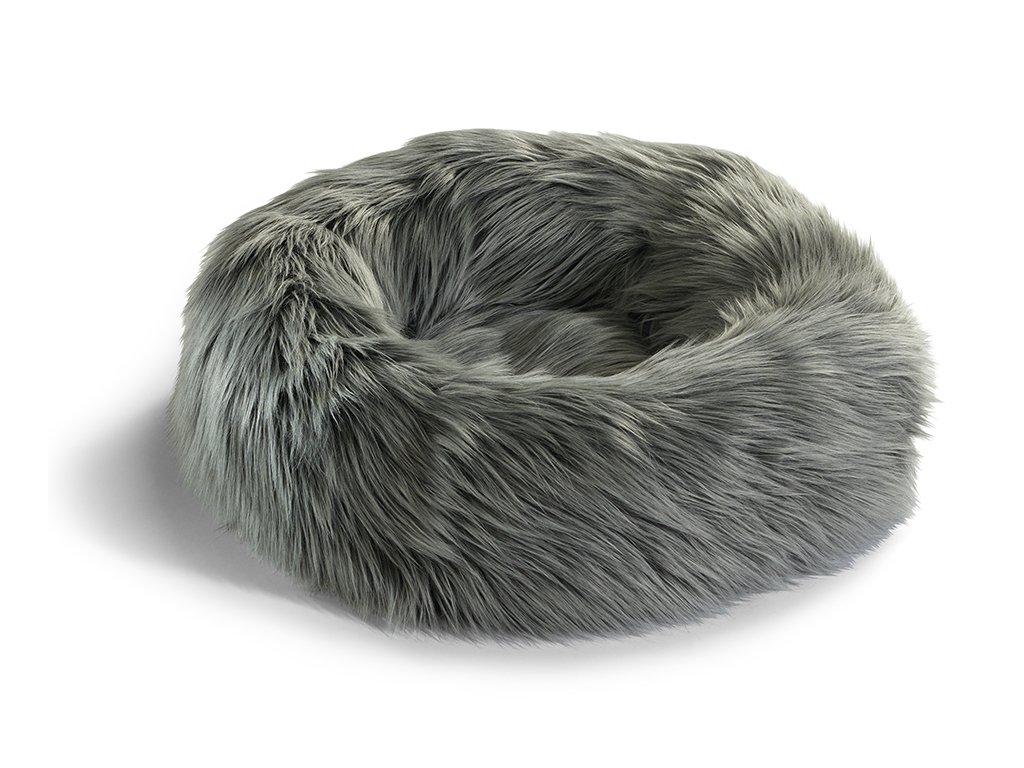 Luxusní pelíšek pro kočky MiaCara Capello šedý s kožíškem