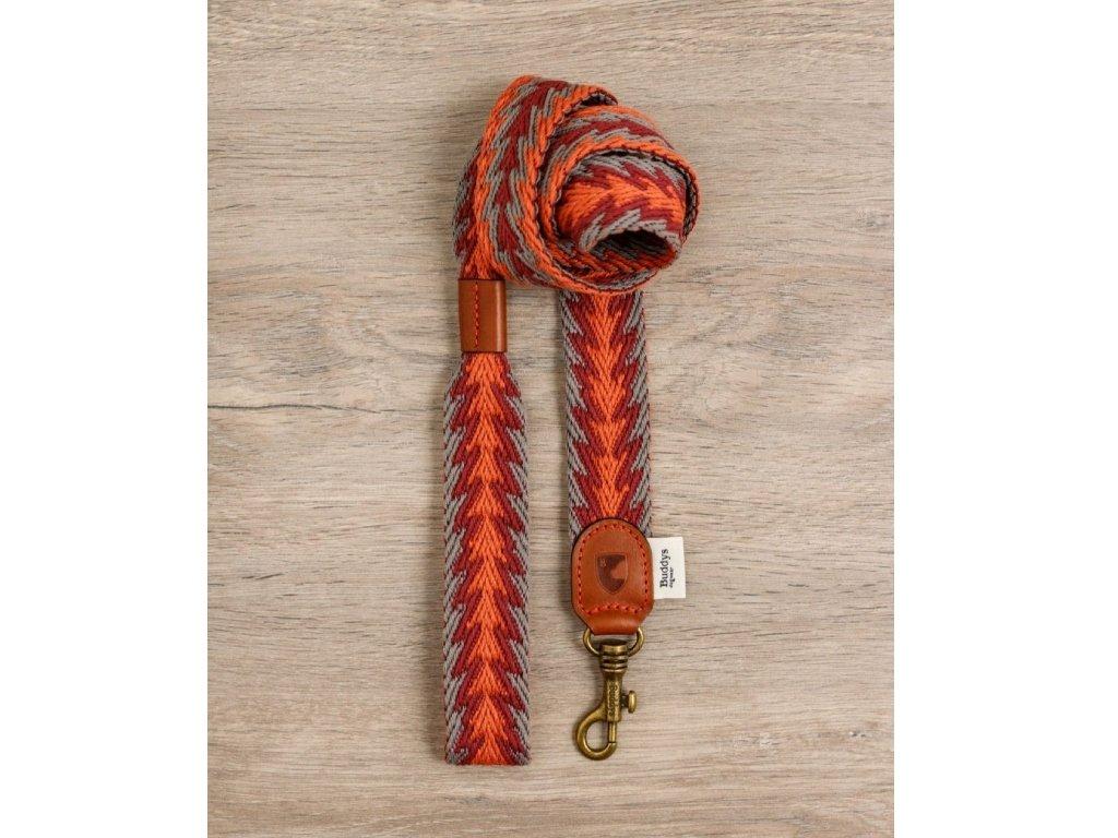 Vodítko pro psa Buddys Peruvian Arrow oranžový