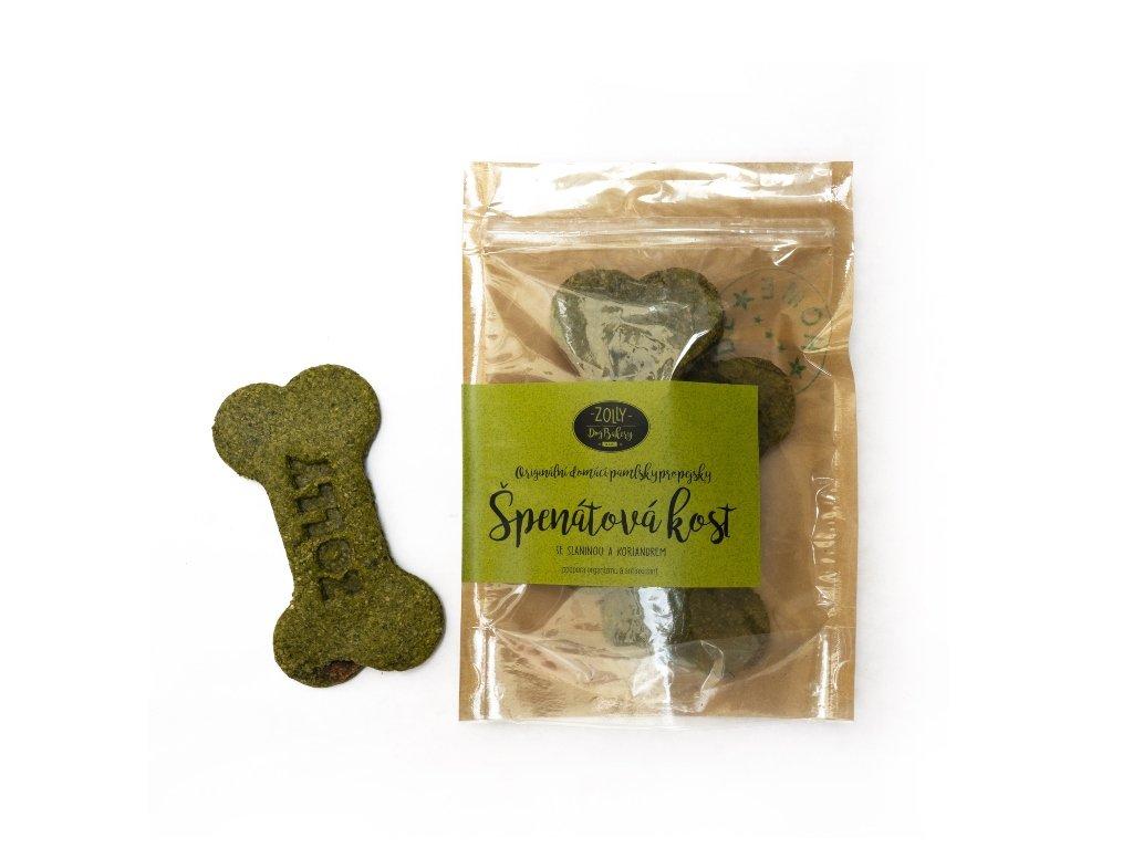 Špenátové pamlsky pro psy - kost