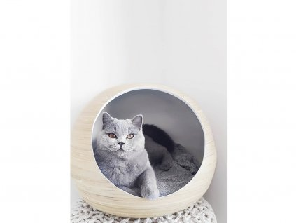 Bambusový pelíšek pro kočky Dandy Ball bílý