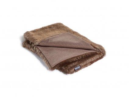 Luxusní deka pro psy MiaCara Lana hnědá s kožíškem