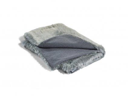 Luxusní deka pro psy MiaCara Lana šedá s kožíškem